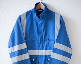 vintage work jacket bleu de travail blue chore wear with hi viz stripe silver reflector coat medium cotton blend utility size 4 c.1970s rare