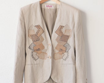French linen short jacket INFINITIF vintage clothing lined blazer woman adult size 40 cork patch embroidery panels made in France 1980s rare