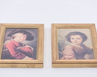 miniature portrait French vintage wall art hanging frame one pair numbered limited edition for the wall antique country home decoration rare