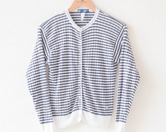 jumper cardigan vintage New Man top white blue marine stripe long sleeve lightly faded crew neck sweater pullover popper fasteners size S/M