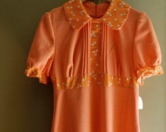 maxi dress vintage party long pink orange white dot midcentury french summer fashion wedding prom birthday Mad Men style s/m size 1960s OOAK