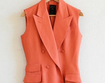vintage Jean Paul Gaultier Femme designer dress coral salmon pink 3/4 sleeveless cocktail wedding smart med adult size 42 made in Italy rare