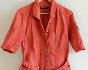 Sonia Rykiel Jeans vintage designer summer dress russet red short sleeve shirt dress 1980s fashion SR Jeans fashion