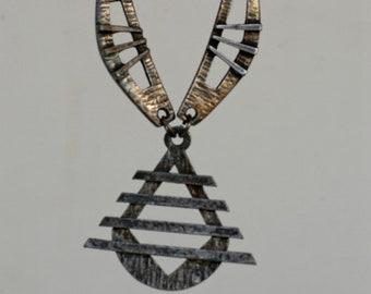 vintage necklace modernist brutalist pewter silver tone metal pendant signed DLH / French vintage designer collectible jewellery 1970 rare