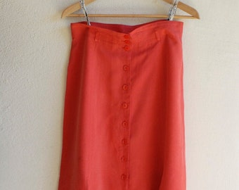 80s skirt maxi long summer fashion by designer Betty Barclay beach holiday coral pink button down lined splits German vintage EU 40 GB 14