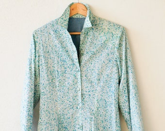 spring fashion coat vintage Liberty of London blue cotton spotty fully lined lightweight summer overcoat handmade 3/4 length one of a kind