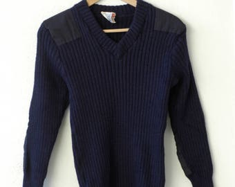 wool jumper pullover vintage Bridgedale blue workwear military army commando sweater elbow patch slim fit ribbed knitwear made in England
