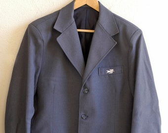 workwear jacket French post office vintage blue uniform blazer LA POSTE industrial utility fashion chore blazer unisex made in France c.1970