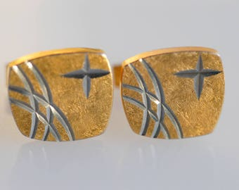 cuff links cross geometric retro gold plated silver tone french vintage star dandy groom collectible jewellery midcentury fashion 1950 rare