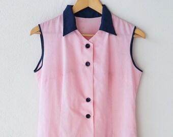 apron dress French vintage workwear pastel pink blue trim sleeveless summer dress workshop overwear midcentury modern made in France c.1950s