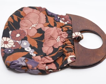 70s floral flower power handbag curved wood handles French vintage fabric fashion accessory top handle bag button closure handmade in France