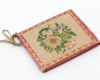 vintage embroidery tapestry note card holder French carnet de bal & stylus small pocket note bifold two compartment wallet accessory rare