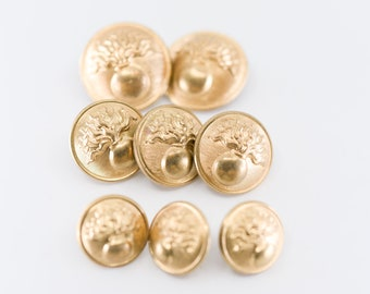 buttons French vintage militaria 8 round gold tone metal dome brass shank military surplus uniform fasteners sewing supply made in France