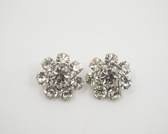 clip on earrings floral diamanté swarovski bling glam chunky vintage costume jewellery clear sparkle large flower silver tone metal c.1990s