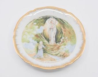 LIMOGES France miniature porcelain vintage plate Lourdes apparition objets d'art collectible cabinet display gilt gold edge French religious