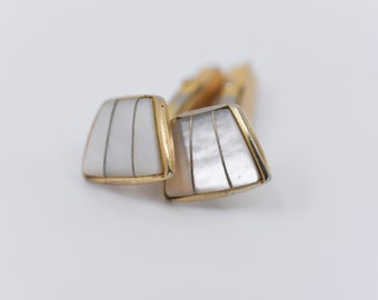 vintage mother of pearl cufflinks MOP gold tone metal asymmetric geometric design mid-century modernist Fathers Day gift for Christmas rare