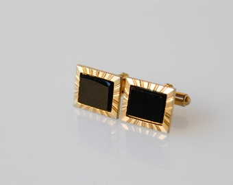 cufflinks black gold midcentury modernist French vintage dandy fashion gold tone metal retro fashion jewellery suit wedding made in France