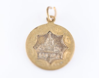 religious medal charm French vintage Basilique du Rosaire LOURDES two tone old brass metal star rim double side ancienne medaille Catholic