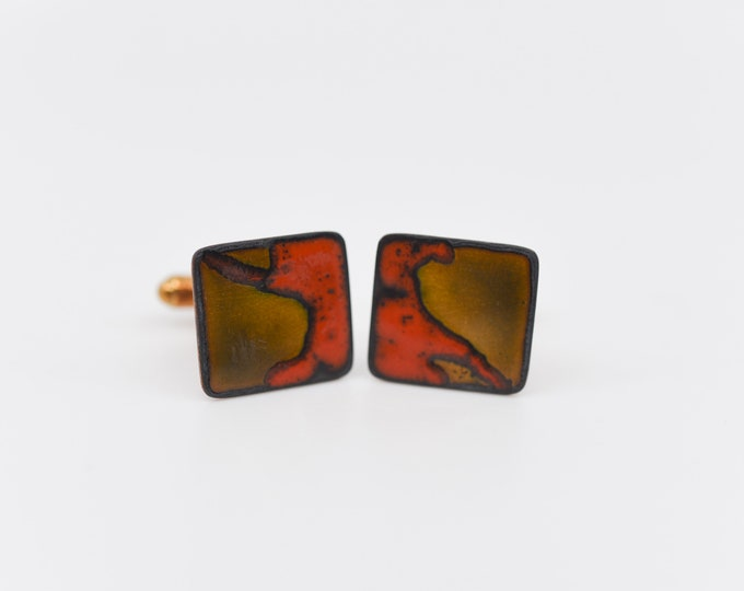 Featured listing image: vintage cuff links 70s modernist red enamel copper gold tone square accessory for the groom shirt cuff wedding jewelery dandy fashion formal
