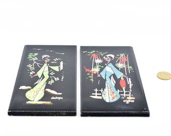 hand painted Italian vintage ceramic tiles rectangle Coop Ceramica D'Imola MCM home decor asian women chinoiserie signed pair NOS 1967 rare