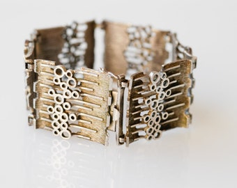 bracelet vintage 925 silver chain link modernist brutalist 1970s UNIDOR silver jewellery stamp ELLDEE mid century cuff chunky geometric 70s