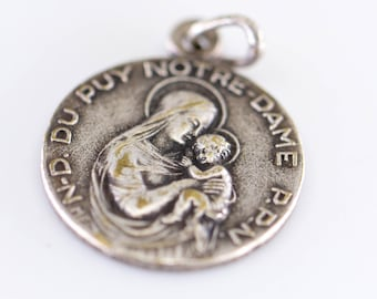 religious charm Notre Dame du Puy PPN pray for us French vintage silver tone metal relief double sided round medallion pendant Mary and baby