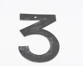"metal sign number three vintage industrial salvage metal decor home improvement dark grey 13.5cm 5"" handmade for the wall door number 3"