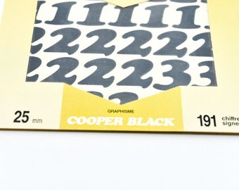 vintage PICKUP system stickers self adhesive splashproof 25mm lettering black colour 191 individual loose numbers symbols new old stock NOS