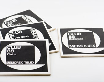 ceramic tiles memorex telex club black white vintage wall art technology memorabilia Monte Carlo Bangkok Bahamas Cairo lot of 4 rare 80s 6""