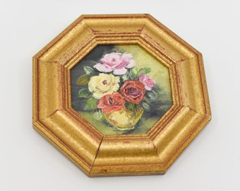 oil painting roses still life floral gold octagonal frame country home decor colours paper back French vintage wall hanging art ooak 3.5""