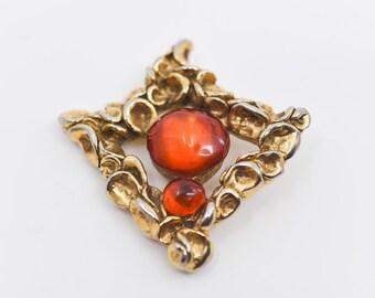 1980s comptoirs de la banquise paris French vintage designer costume jewellery gold tone faux amber orange dome shaped centre