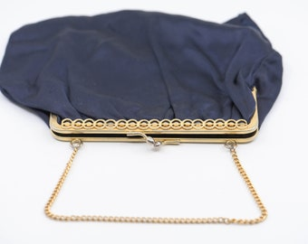 blue satin French vintage handbag evening clutch gold chain wrist strap mid century cocktail party prom accessory made in France 1960s rare