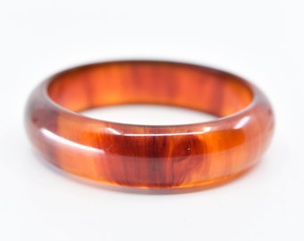 bangle amber bakelite French vintage marbled burnt orange early plastic positive tested chunky collectible jewellery for the wrist 1960 39g