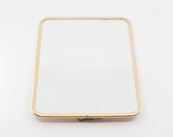 barber mirror French vintage midcentury modern gold edge rectangular make up mirror easel stand  24 x 18 cm