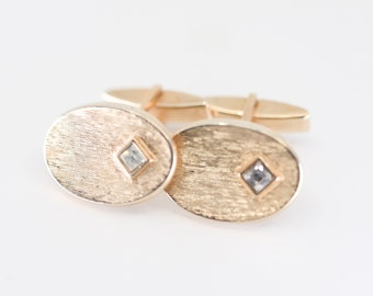 oval cufflinks French vintage textured gold tone metal with small faux strass diamond midcentury mod jewellery formal shirt for the groom