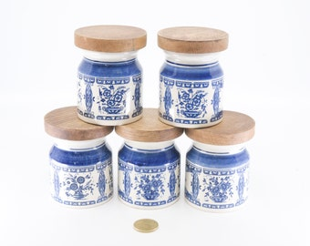 delft blue spice pots vintage ceramic jars round cork lids matching set of five containers kitchen storage organisation 1960s farmhouse