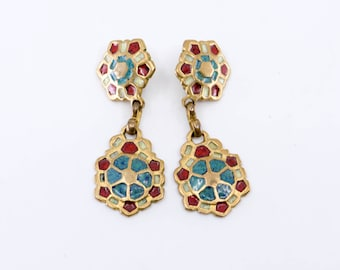 70s enamel brass blue red mosaic dangle drop clip earrings for the ear lobe French vintage clip on ear ring jewellery made in France 1970s