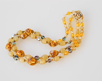 necklace vintage foil glass bead midcentury two strand yellow gold beaded antique jewellery pretty elegant collectible made in France 1950s
