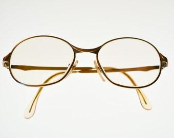 french vintage eyeglasses MOREL gold tone frame Audrey midcentury modern fashion eyewear and case