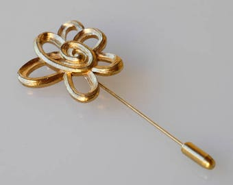 vintage dress pin designer JACQUES ESTEREL JE french pin flower midcentury modern costume jewellery scarf hat accessory made in France 1970s