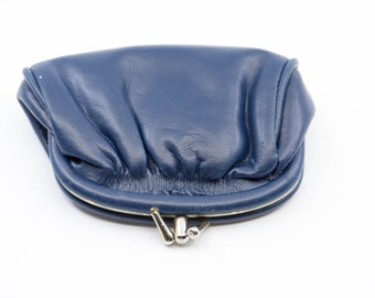 dark blue soft slouchy soft coin purse silver tone metal clasp french mod vintage pouch for money handbag accessory mid century modern 1960s