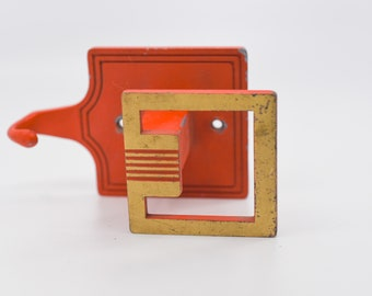 wall hook vintage brass retro orange square hook industrial architectural metal hardware vintage storage organisation VCR ITALY brev rare