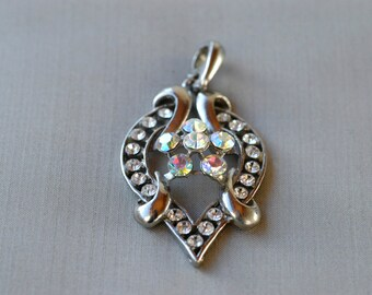 vintage aurora borealis pendant charm / heart shaped AB faceted iridescent and diamanté with polished silver tone metal fashion jewellery /