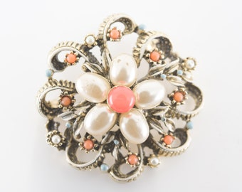 """brooch floral vintage costume jewellery faux pearl coral turquoise flower gift dress pin maker stamp to be identified numbered 946 4cm 1.5"""""""