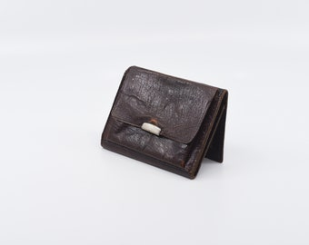 French vintage coin purse small battered brown leather flat pouch small multi compartment pouch genuine retro accessory made in France c.70s
