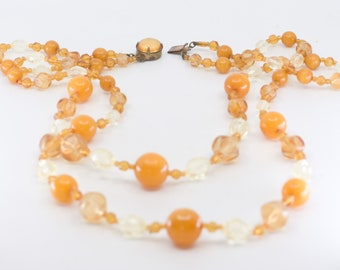 bakelite bead necklace French vintage art deco mixed early plastic two strand long orange clear tested collectible jewellery made in France