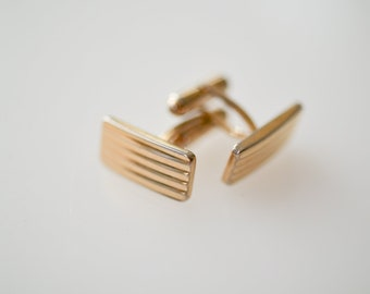 cufflinks French vintage CIB stamped rectangular geometric gold tone metal midcentury modern dandy boutons de manchette jewellery wedding