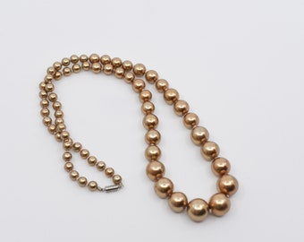 gold necklace vintage bauble copper gold tone graduated round bead single strand jewellery statement midcentury retro glamour collectible