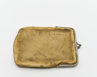 French antique battered leather purse silver tone clasp one compartment rectangular vintage pouch signed D Lonnet made in France 1900s rare