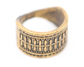 ring antique brass wide vintage wedding band statement jewellery with geometric relief pattern universal size 50 unusual rare